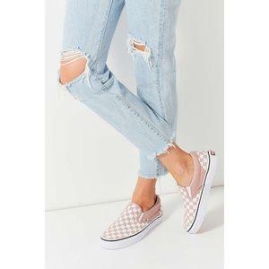 Vans Checkerboard Slip-Ons - Pink & Off-White